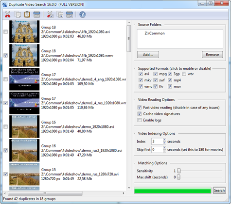 Duplicate Video Search Software Screenshot